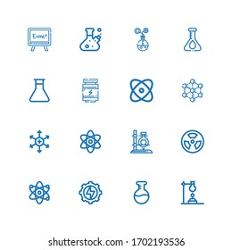 Editable 16 atom icons for web and mobile. Set of atom included icons line Flask, Energy, Atom, Radioactive, Positive ion, Molecule, Physics, Proteins, Formula on white background