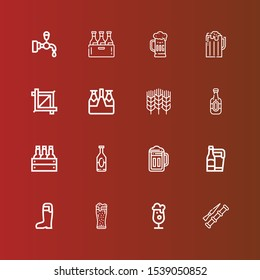 Editable 16 barley icons for web and mobile. Set of barley included icons line Spike, Beer, Wheat, Crop, Beer tap on red