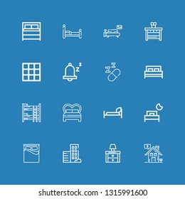 Editable 16 bedroom icons for web and mobile. Set of bedroom included icons line Real estate, Nightstand, Bed, Bunk bed, Sleeping, Snooze, Blanket, Bedroom on blue background