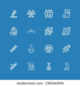 Editable 16 biology icons for web and mobile. Set of biology included icons line Microscope, Transgenics, Scientist, Dna, Grasshopper, Biohazard, Flask, Genetic on blue background