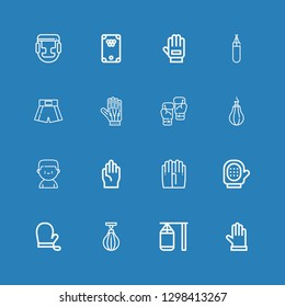 Editable 16 boxing icons for web and mobile. Set of boxing included icons line Gloves, Punching bag, Boxing bag, Glove, Boxer, Punching ball, shorts on blue background