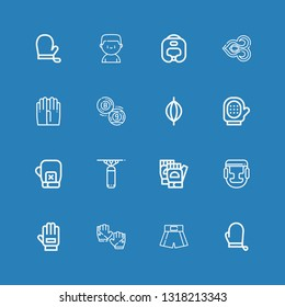 Editable 16 boxing icons for web and mobile. Set of boxing included icons line Gloves, Boxing shorts, Glove, Punching bag, gloves, Billiard, Thai on blue background