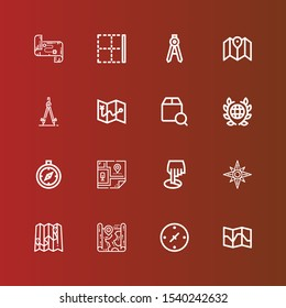 Editable 16 cartography icons for web and mobile. Set of cartography included icons line Map, Cardinal points, Windrose, Position, Compass, Global, Localize, Border on red