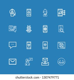 Editable 16 chat icons for web and mobile. Set of chat included icons line Laughing, Email, Answer, Message, Network, Smartphone, Chat, Robot, Mms, Call center on blue background