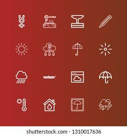 Editable 16 climate icons for web and mobile. Set of climate included icons line Storm, Umbrella, Eco house, Temperature, Cloud, Verizon, Rain, Brightness, Sun, Thermometer on red
