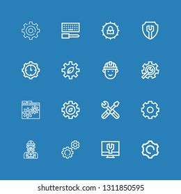 Editable 16 cogwheel icons for web and mobile. Set of cogwheel included icons line Settings, Engineer, Gear, Setting, Engineering, Cogwheel, Configuration on blue background