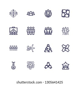 Editable 16 collaboration icons for web and mobile. Set of collaboration included icons line Teamwork, Team, Transgenics, Coordination, Leader on white background