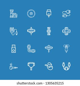 Editable 16 connector icons for web and mobile. Set of connector included icons line Cable, Pipe, Hdmi port, Cymbal, Usb, Pipes, Cymbals, Jack connector, Usb cable on blue background