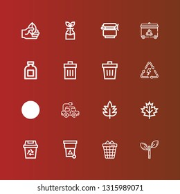 Editable 16 conservation icons for web and mobile. Set of conservation included icons line Leaf, Trash can, Trash, Recycling, Electric car, Energy, Conserve, Recycling bin on red