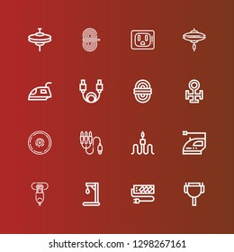 Editable 16 cord icons for web and mobile. Set of cord included icons line Cable, Socket, Gallow, Hdmi port, Iron, Jack connector, Cymbal, Copper, Rope, Cymbals on red