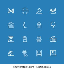 Editable 16 court icons for web and mobile. Set of court included icons line Auction, Prison, Tennis, Basketball, Courthouse, Judge, Scale, Table tennis, Guilt on blue background