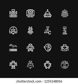 Editable 16 cyborg icons for web and mobile. Set of cyborg included icons line Transhumanism, Robot, Space robot, Science fiction, Robotics, Artificial intelligence on black background