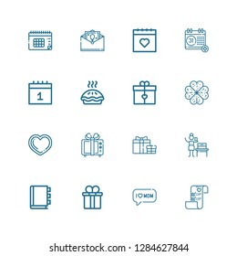 Editable 16 day icons for web and mobile. Set of day included icons line Wedding plans, Mom, Gift box, Appointment book, Woman suffrage, Gift, Heart, Clover on white background