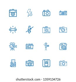 Editable 16 digicam icons for web and mobile. Set of digicam included icons line Camera, Photography, Flash, Auto flash on white background