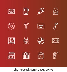Editable 16 disco icons for web and mobile. Set of disco included icons line Pop singer, Amplifier, Philharmonic, Turntable, Vinyl, Cosplayer, Musical note, Cassette, Karaoke on red