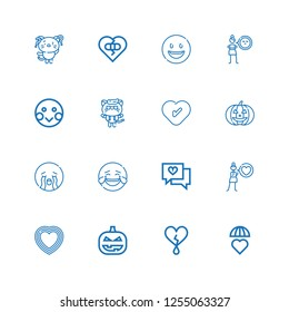 Editable 16 emotion icons for web and mobile. Set of emotion included icons line Emotions, Heart, Pumpkin, Love, Laughing, Crying, Kitty, Shy, Cynicism, Happy on white background