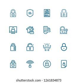 Editable 16 encryption icons for web and mobile. Set of encryption included icons line Locked, Unlock, Unlocked, Padlocks, Padlock, Protection, Lock, Ssl on white background