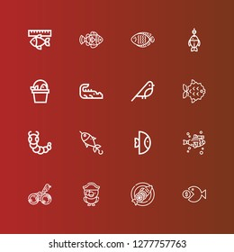 Editable 16 fauna icons for web and mobile. Set of fauna included icons line Fish, Parrot, Bird, Caterpillar, Crocodile, Clown fish on red