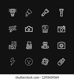 Editable 16 flash icons for web and mobile. Set of flash included icons line Usb, Photo, Shocked, Flash, Camera, Photography, Photo camera, Stick, Flashlight on black background
