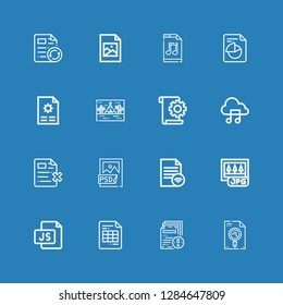 Editable 16 format icons for web and mobile. Set of format included icons line File, Js, Jpg, Psd file, Music file, Tipi, Jpeg on blue background