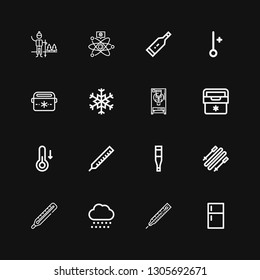 Editable 16 freeze icons for web and mobile. Set of freeze included icons line Fridge, Thermometer, Snow, Skii, Temperature, Freezer, Snowflake, Portable fridge on black background