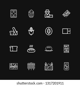 Editable 16 grain icons for web and mobile. Set of grain included icons line Coffee beans, Field, Wheat, Farm, Seed, Bun, Bread, Crop, Sourdough, Corn, Seeds on black background