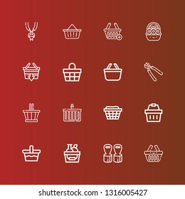 Editable 16 grip icons for web and mobile. Set of grip included icons line Basket, Hand grip, Shopping basket, Pliers, Tooth pliers on red
