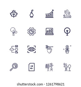 Editable 16 growth icons for web and mobile. Set of growth included icons line Reforestation, Gardener, Change, Analytics, Growth, Acorn, Vision, Data, Tree on white background