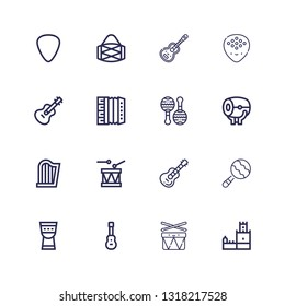 Editable 16 guitar icons for web and mobile. Set of guitar included icons line Belem tower, Drums, Acoustic guitar, Timpani, Maraca, Drum, Harp, Maracas on white background