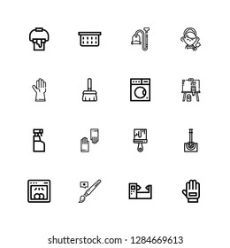Editable 16 housework icons for web and mobile. Set of housework included icons line Glove, Machine, Brush, Dishwasher, Toilet brush, Paint brush, Gloves, Cleaning spray on white background