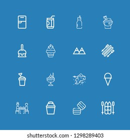 Editable 16 ice icons for web and mobile. Set of ice included icons line Ski, Macaron, Bucket, Fast food, Ice cream, Iceberg, Sand bucket, Skii, Mountains, Candy on blue background
