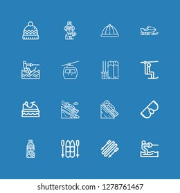 Editable 16 icons for web and mobile. Set of ski included icons line Water ski, Skii, Ski, Skier, Goggles, Luge, Jet ski, Chairlift, Cableway, Wakeboarding on blue background