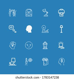 Editable 16 inspiration icons for web and mobile. Set of inspiration included icons line Think, Thinking, Modesty, Lamp, Smart, Imagination, Bulb, Paint bucket on blue background