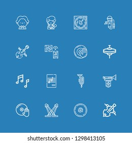 Editable 16 instruments icons for web and mobile. Set of instruments included icons line Cello, Cymbal, Concert, DJ, Trumpet, Music, Cymbals, Dj music, Singing on blue background