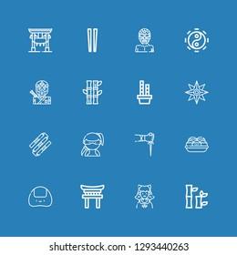 Editable 16 japan icons for web and mobile. Set of japan included icons line Bamboo, Cosplayer, Torii, Onigiri, Takoyaki, Sai, Ninja, Nunchaku, Shuriken, Taoism on blue background