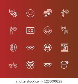 Editable 16 laugh icons for web and mobile. Set of laugh included icons line Mask, Expresso, Laughing, Cynicism, Disgusted, Masks, Sad, Theatre mask on red