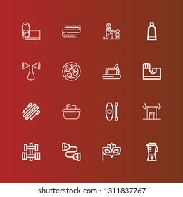 Editable 16 lifestyle icons for web and mobile. Set of lifestyle included icons line Blender, Eye mask, Chest expander, Dumbbell, Weightlifting, Kayak, Wet wipes, Skii on red