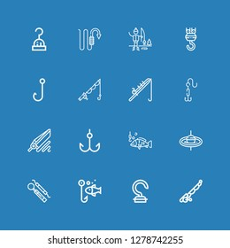 Editable 16 lure icons for web and mobile. Set of lure included icons line Fishing rod, Hook, Fishing, Ice fishing on blue background