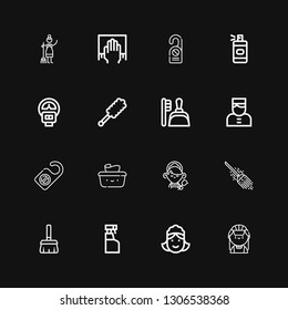 Editable 16 maid icons for web and mobile. Set of maid included icons line Maid, Cleaning spray, Broom, Wet wipes, Door hanger, Bellboy, Dustpan, Duster, Parking meter on black background