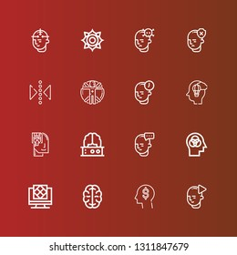 Editable 16 mind icons for web and mobile. Set of mind included icons line Mind, Think, Brain, Artificial intelligence, Memorize, Imagination, Transhumanism, Reflect, Chakra on red