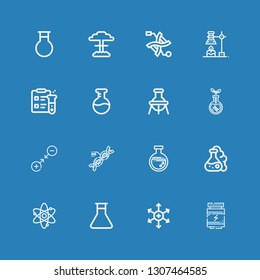 Editable 16 molecule icons for web and mobile. Set of molecule included icons line Proteins, Positive ion, Flask, Atom, Dna, Gravity, Transgenics, Science, Chemical on blue background