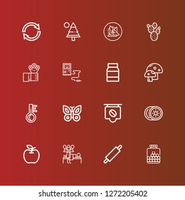 Editable 16 natural icons for web and mobile. Set of natural included icons line Chewing gum, Rolling pin, Massage, Apple, Kiwi, Coffee, Butterfly, Thermometer, Mushroom on red