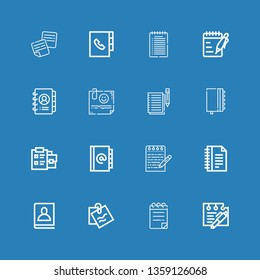 Editable 16 notepaper icons for web and mobile. Set of notepaper included icons line Note, Notepad, Agenda, Notes on blue background