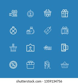 Editable 16 offer icons for web and mobile. Set of offer included icons line Basket, Proposal, Gift, Discount, Voucher, Tag, Gifts, Canteen, Shopping basket on blue background