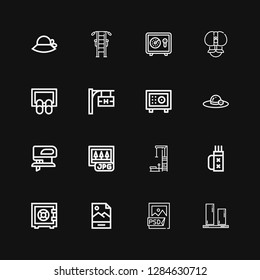 Editable 16 png icons for web and mobile. Set of png included icons line Vertical align, Psd file, Jpg, Safebox, Quiver, Gym station, Fretsaw, Pamela, Hotel signal on black background