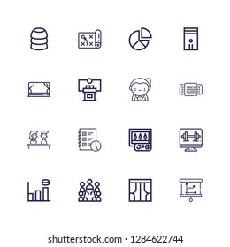 Editable 16 presentation icons for web and mobile. Set of presentation included icons line Presentation, Curtains, Meeting, Graph bar, Computer, Jpg, Analytics on white background
