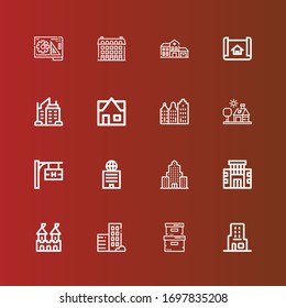 Editable 16 real icons for web and mobile. Set of real included icons line Skyscraper, Storage box, Real estate, Fortress, Building, Hotel signal, House, House plan, Blueprint on red