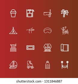 Editable 16 relaxation icons for web and mobile. Set of relaxation included icons line Hammock, Sauna, Roller skate, Yatch, Yoga mat, Bench, Rug, Well, Spa, Sleeping mask on red