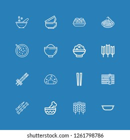 Editable 16 rice icons for web and mobile. Set of rice included icons line Bowl, Wheat, Spike, Sushi, Chopsticks, Onigiri, Rice, Red bean soup, Pad thai, Takoyaki on blue background