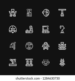 Editable 16 robotic icons for web and mobile. Set of robotic included icons line Robot, Robot mask, Robot arm, Robotic arm, Space robot, Transhumanism, Vacuum on black background